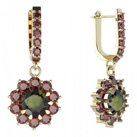BG circular earring 011-94 - Metal: White gold 585, Stone: Moldavit and garnet
