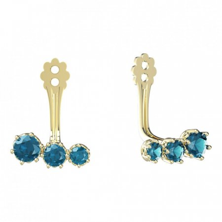 BeKid Gold earrings components  three stones - Metal: Yellow gold 585, Stone: Green cubic zircon