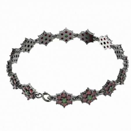 BG bracelet 157 - Metal: White gold 585, Stone: Moldavite and cubic zirconium