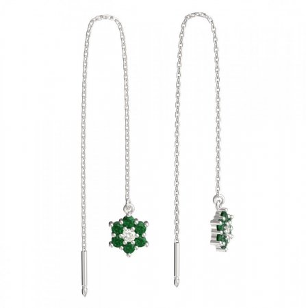 BeKid, Gold kids earrings -109 - Switching on: Chain 9 cm, Metal: White gold 585, Stone: Green cubic zircon