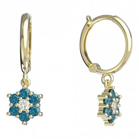 BeKid, Gold kids earrings -109 - Switching on: Circles 12 mm, Metal: Yellow gold 585, Stone: Light blue cubic zircon