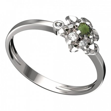 BG moldavit ring - 878L - Metal: White gold 585, Stone: Moldavite and cubic zirconium