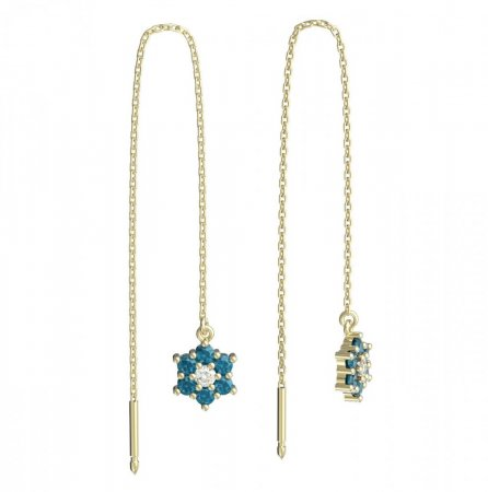 BeKid, Gold kids earrings -109 - Switching on: Chain 9 cm, Metal: Yellow gold 585, Stone: Light blue cubic zircon