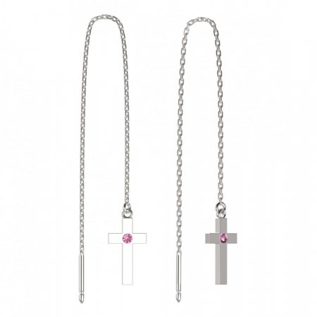 BeKid, Gold kids earrings -1104 - Switching on: Chain 9 cm, Metal: White gold 585, Stone: Pink cubic zircon