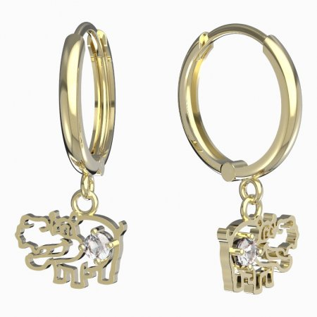 BeKid, Gold kids earrings -1188 - Switching on: Puzeta, Metal: Yellow gold 585, Stone: White cubic zircon