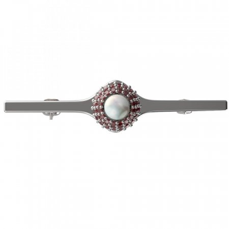 BG brooch 540I - Metal: Yellow gold 585, Stone: Garnet and pearl
