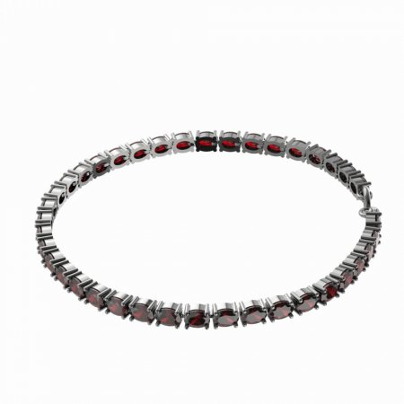 BG bracelet 688 - Metal: Silver - gold plated 925, Stone: Moldavit and garnet
