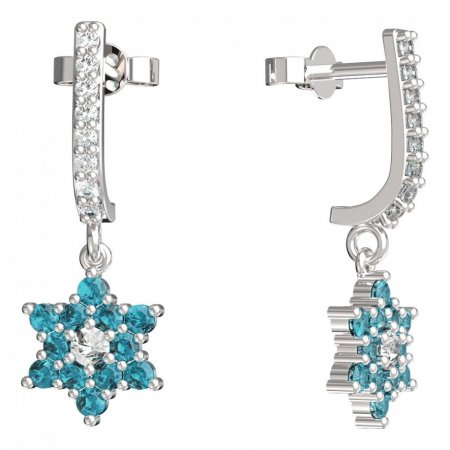BeKid, Gold kids earrings -090 - Switching on: Pendant hanger, Metal: White gold 585, Stone: Light blue cubic zircon
