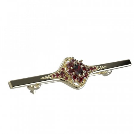 BG brooch 627K - Metal: Yellow gold 585, Stone: Moldavite and cubic zirconium