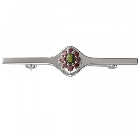 BG brooch 627I - Metal: White gold 585, Stone: Moldavite and cubic zirconium