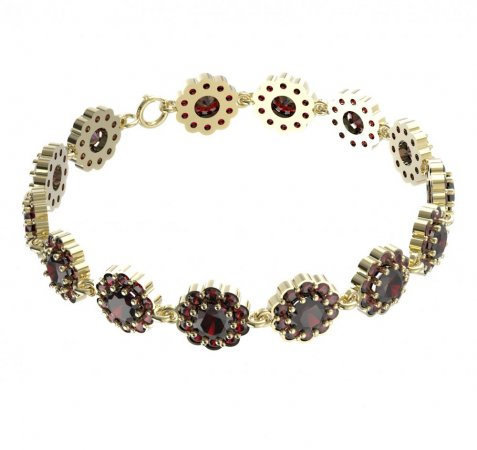 BG bracelet 293 - Metal: Yellow gold 585, Stone: Garnet