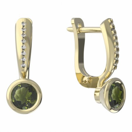 BG moldavit earrings -557 - Switching on: Hanger clip A, Metal: Yellow gold 585, Stone: Moldavite