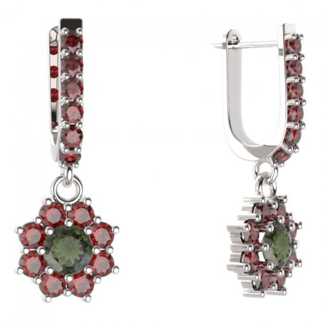 BG circular earring 023-94 - Metal: Silver - gold plated 925, Stone: Moldavite and cubic zirconium