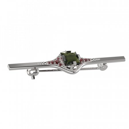 BG brooch 496K - Metal: Yellow gold 585, Stone: Moldavite and cubic zirconium