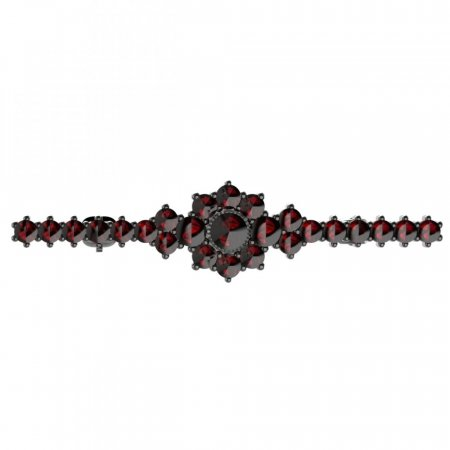 BG brooch 017 - Metal: Silver - gold plated 925, Stone: Moldavit and garnet