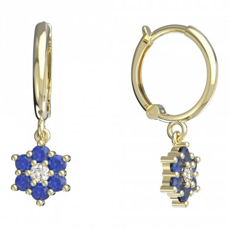 BeKid, Gold kids earrings -109 - Switching on: Circles 12 mm, Metal: Yellow gold 585, Stone: Dark blue cubic zircon