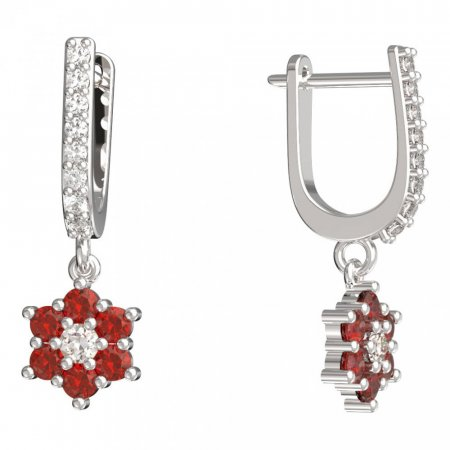 BeKid, Gold kids earrings -109 - Switching on: English, Metal: White gold 585, Stone: Red cubic zircon