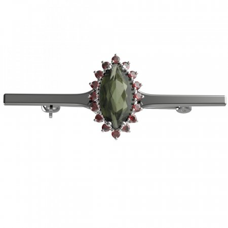 BG brooch 513I - Metal: Yellow gold 585, Stone: Moldavit and garnet
