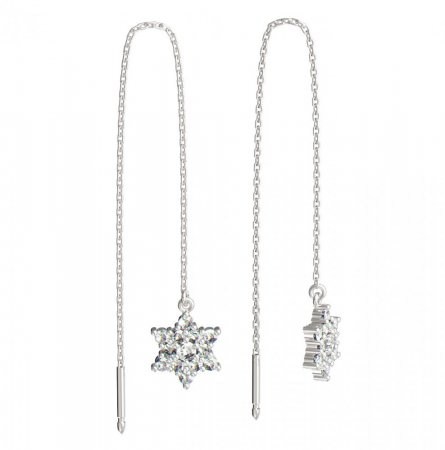 BeKid, Gold kids earrings -090 - Switching on: Chain 9 cm, Metal: White gold 585, Stone: Diamond