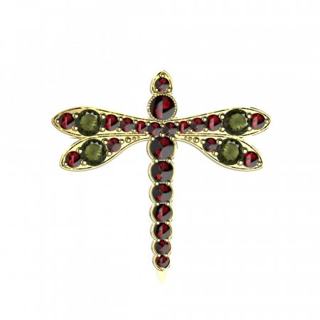 BG brooch 347 - Metal: White gold 585, Stone: Moldavit and garnet