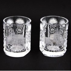 set of two crystal hand cut glasses Šafránek 3601 ORQQI0086