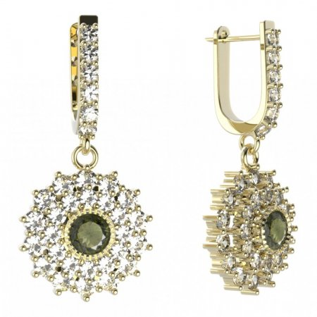 BG circular earring 004-94 - Metal: Silver - gold plated 925, Stone: Moldavit and garnet