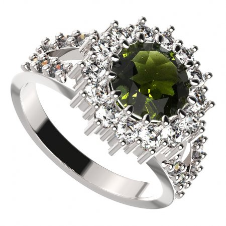 BG ring circular 096-Y - Metal: Silver 925 - rhodium, Stone: Moldavit and garnet