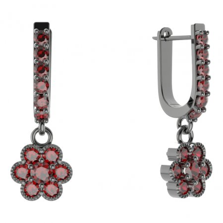 BG circular earring 140-94 - Metal: Silver - gold plated 925, Stone: Moldavite and cubic zirconium