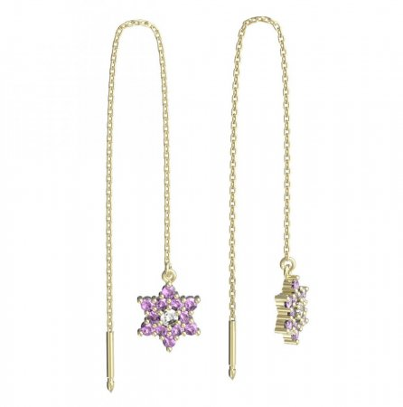 BeKid, Gold kids earrings -090 - Switching on: Chain 9 cm, Metal: Yellow gold 585, Stone: Pink cubic zircon