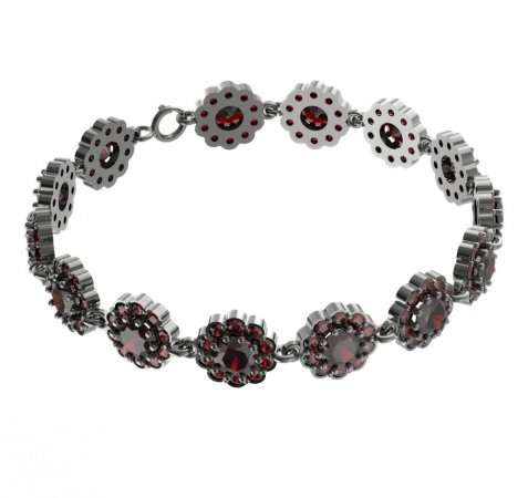 BG bracelet 293 - Metal: White gold 585, Stone: Moldavit and garnet