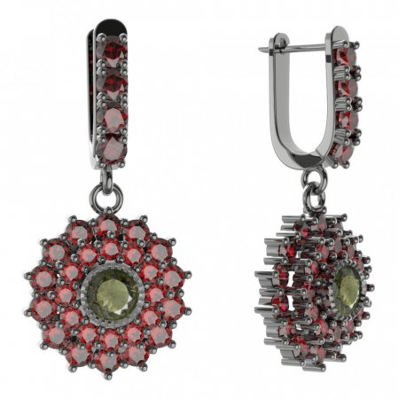 BG circular earring 004-96 - Metal: White gold 585, Stone: Moldavite and cubic zirconium