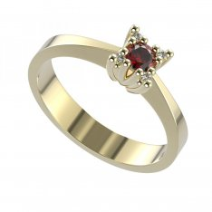 BG gold ring garnet or moldavit 762