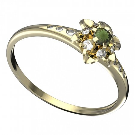 BG moldavit ring - 878K - Metal: Yellow gold 585, Stone: Moldavite and cubic zirconium