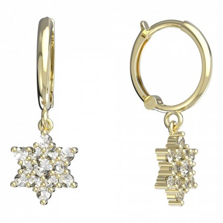 BeKid, Gold kids earrings -090 - Switching on: English, Metal: White gold 585, Stone: Red cubic zircon