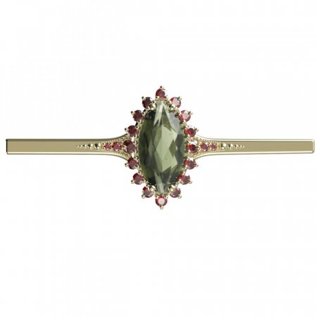 BG brooch 513K - Metal: Silver - gold plated 925, Stone: Moldavit and garnet