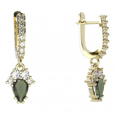 BG circular earring 258-84 - Metal: Silver - gold plated 925, Stone: Moldavite and cubic zirconium