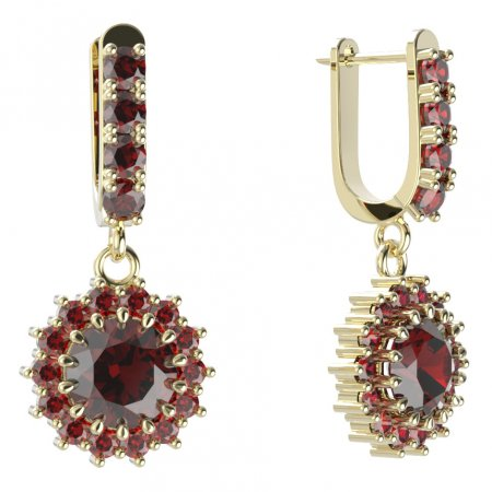 BG circular earring 096-96 - Metal: Yellow gold 585, Stone: Moldavit and garnet
