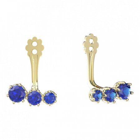 BeKid Gold earrings components  three stones - Metal: White gold 585, Stone: Dark blue cubic zircon