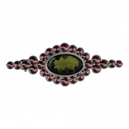 BG brooch 355 - Metal: Silver 925 - ruthenium, Stone: Moldavit and garnet
