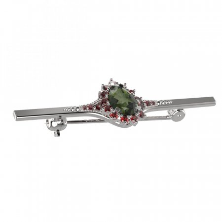 BG brooch 505K - Metal: White gold 585, Stone: Moldavit and garnet