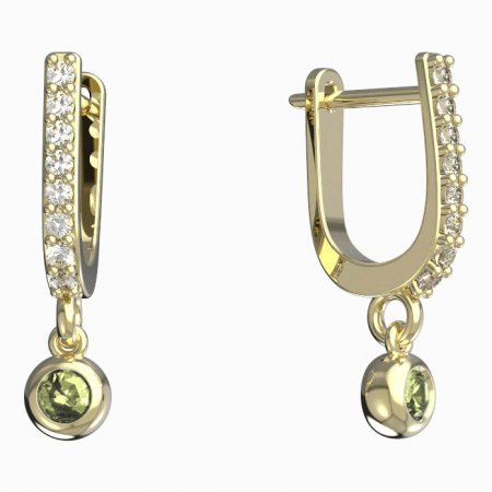BeKid, Gold kids earrings -101 - Switching on: English, Metal: Yellow gold 585, Stone: Green cubic zircon