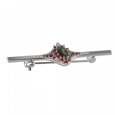 BG brooch 504K - Metal: White gold 585, Stone: Moldavit and garnet