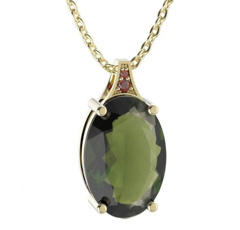 BG pendant oval 678 - Metal: Silver - gold plated 925, Stone: Moldavit and garnet