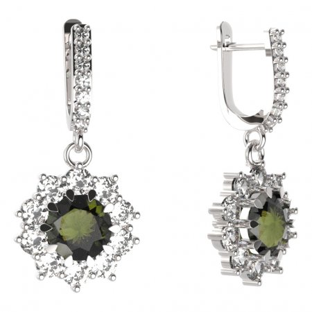 BG circular earring 011-84 - Metal: Silver - gold plated 925, Stone: Moldavite and cubic zirconium