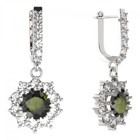 BG circular earring 011-94 - Metal: Silver - gold plated 925, Stone: Moldavite and cubic zirconium