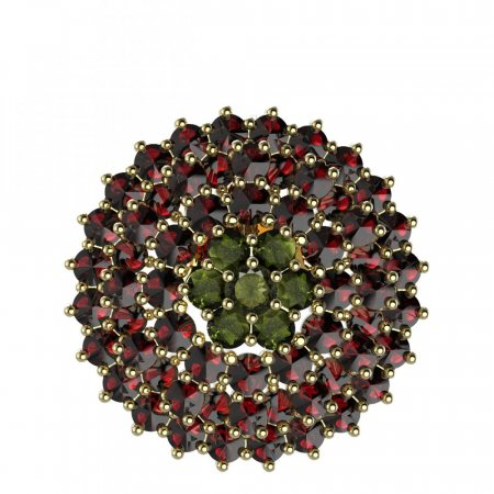 BG brooch 223 - Metal: Yellow gold 585, Stone: Garnet