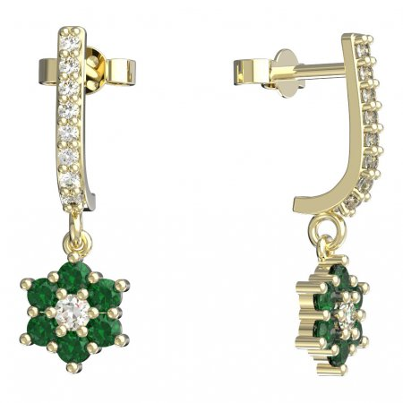 BeKid, Gold kids earrings -109 - Switching on: Pendant hanger, Metal: Yellow gold 585, Stone: Green cubic zircon