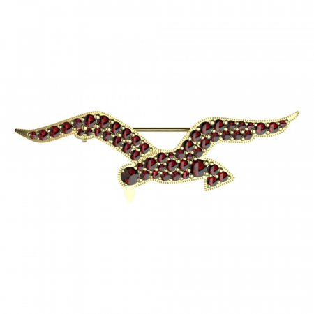 BG brooch 131 - Metal: Silver - gold plated 925, Stone: Garnet