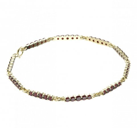 BG bracelet 204 - Metal: Silver - gold plated 925, Stone: Moldavit and garnet