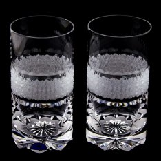 Set of two crystal hand cut water drains Šafránek 631